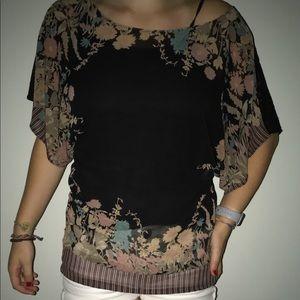 Free People Shirt Size M Black, Stripes & Flowers